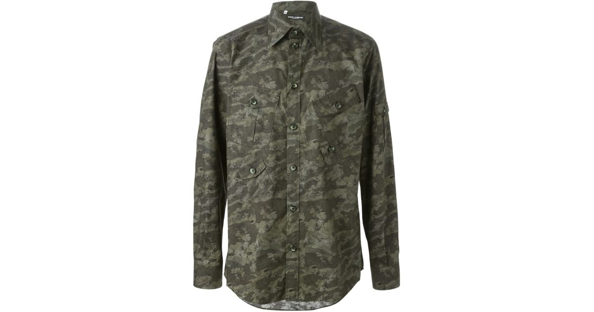 c40e562dc Lyst - Dolce & Gabbana Camouflage Print Shirt in Green for Men