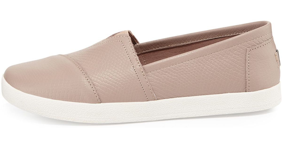 90e59ddb8aa Lyst - TOMS Avalon Embossed Leather Slip-on in Natural