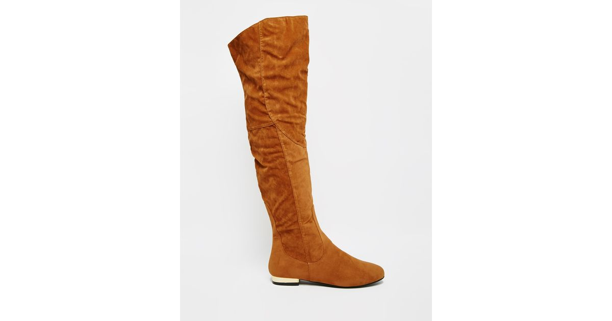 52aa0088ca52 Lyst - Daisy Street Tan Flat Over The Knee Boots in Brown