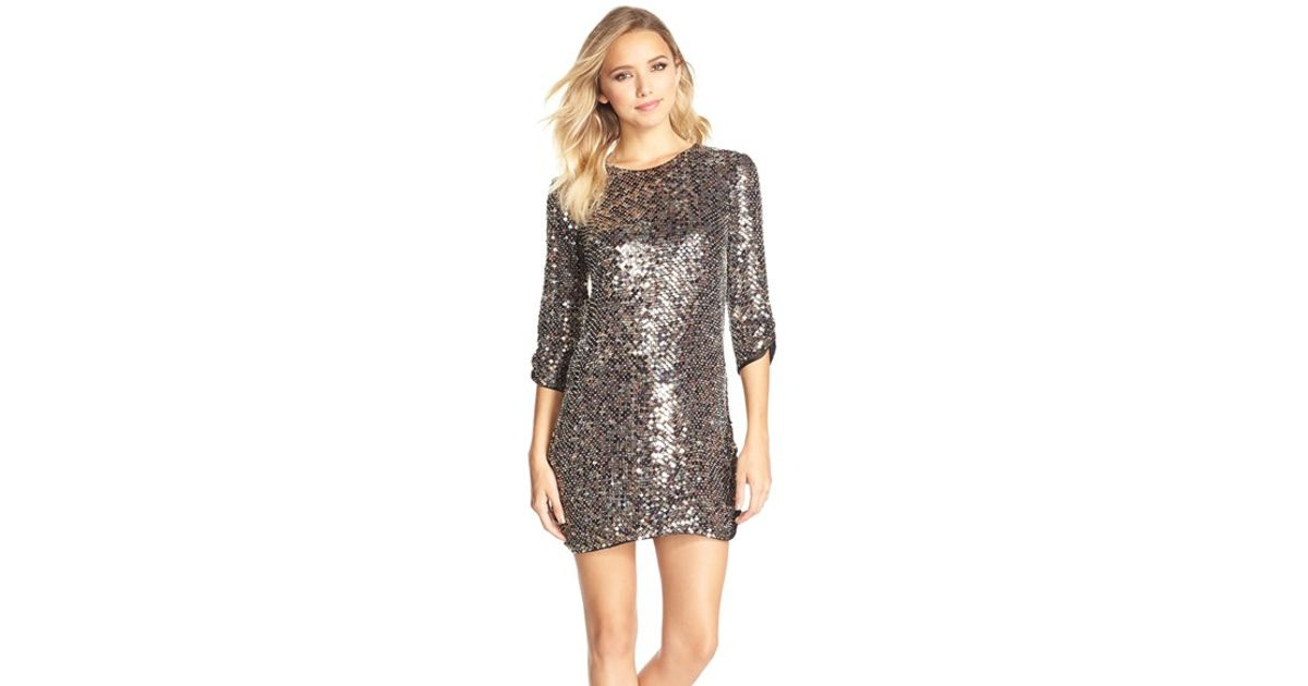 a1318a0843bc Parker Black 'petra' Sequin Cocktail Dress in Gray - Lyst
