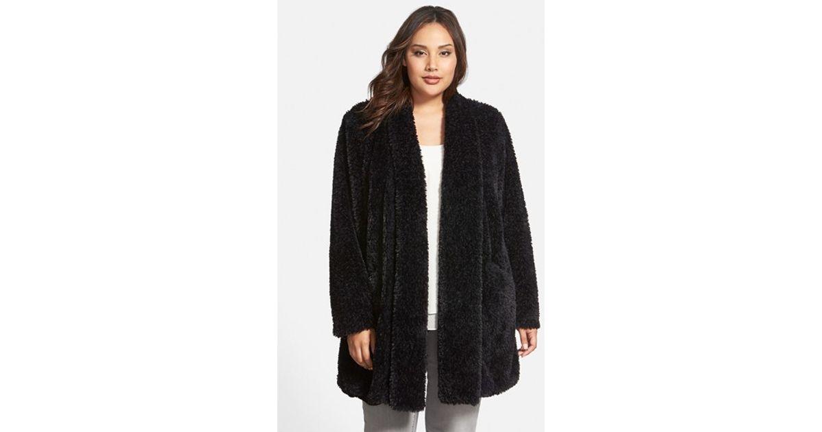 01a9521b1aa Kenneth Cole 'Teddy Bear' Faux Fur Clutch Coat in Black - Lyst