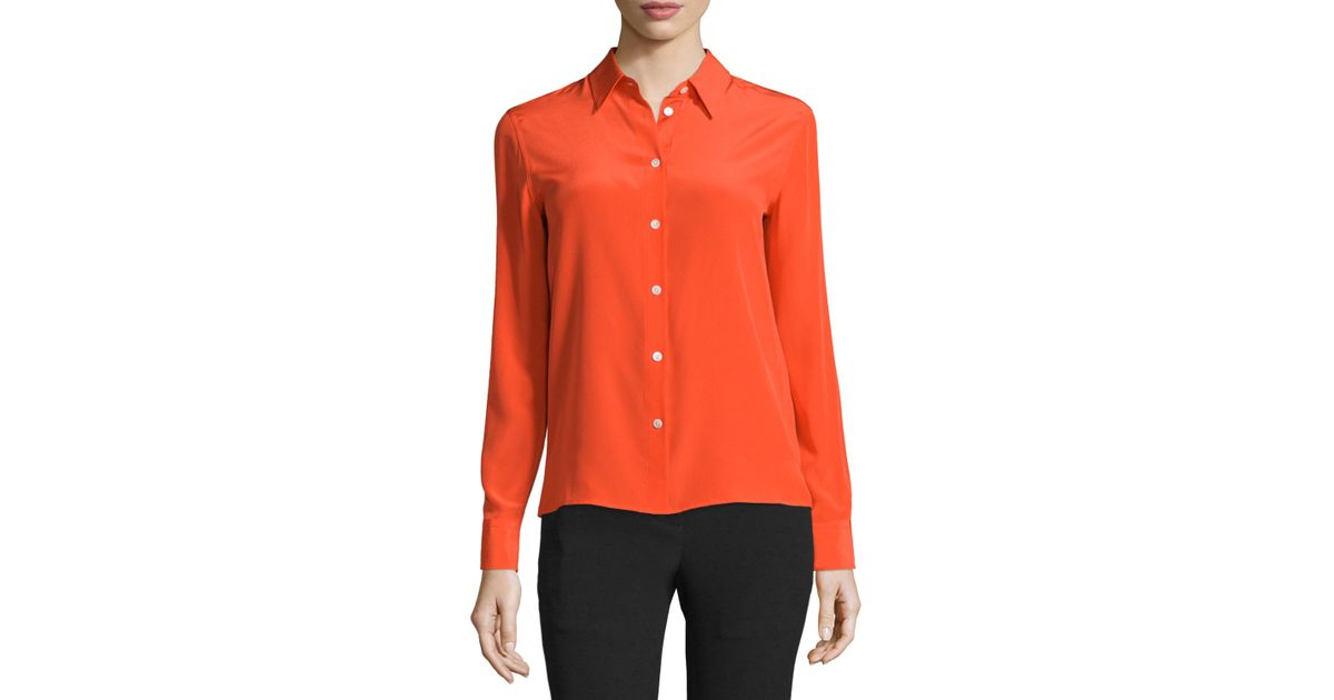 Rag bone poppy silk button front shirt in red lyst for Rag and bone mens shirts sale