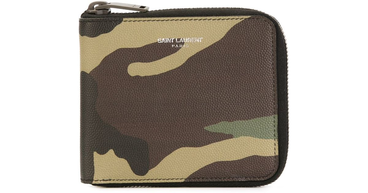 bbf848a61c1 Saint Laurent Camouflage Wallet in Brown for Men - Lyst