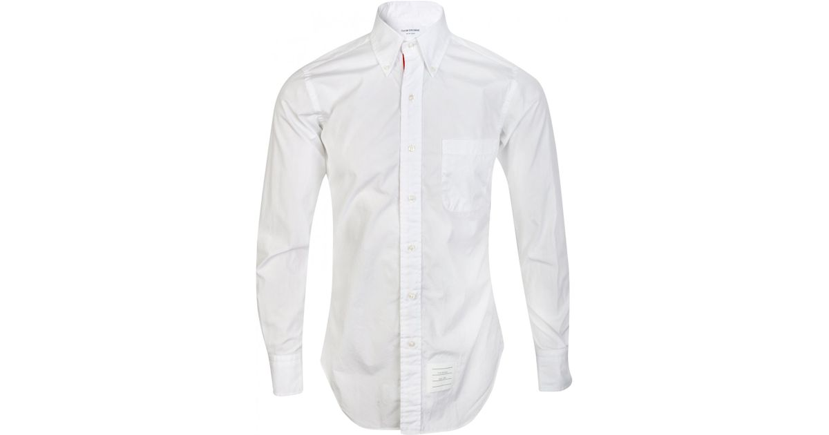 Thom browne white button down collar oxford shirt in white for White button down collar oxford shirt