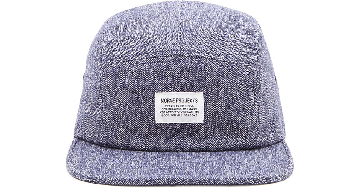 Lyst - Norse Projects Melange Herringbone 5 Panel Hat in Blue for Men 3b16a267168