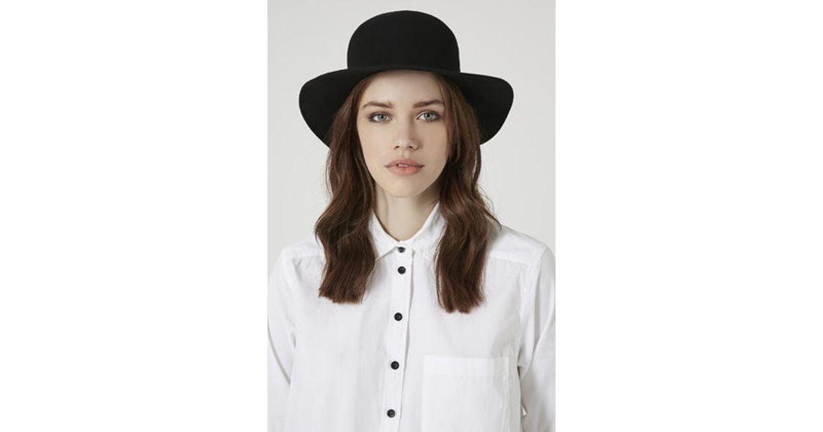 b642b6a70f2d3 Lyst - Topshop Flat Brim Bowler Hat in Black