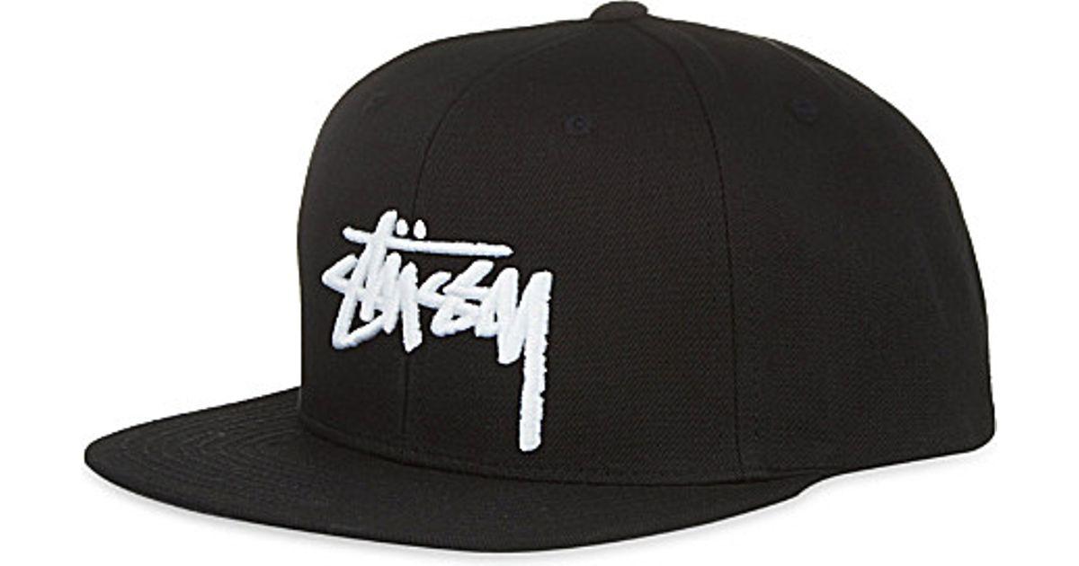 4a5941449e5 Stussy Stock Snapback Cap - For Men in Black for Men - Lyst