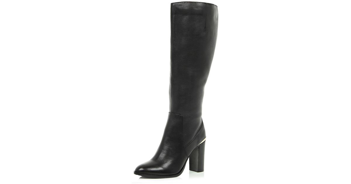 542c2aa1aaf River Island Black Leather Wide Leg Fit Knee High Boots in Black - Lyst