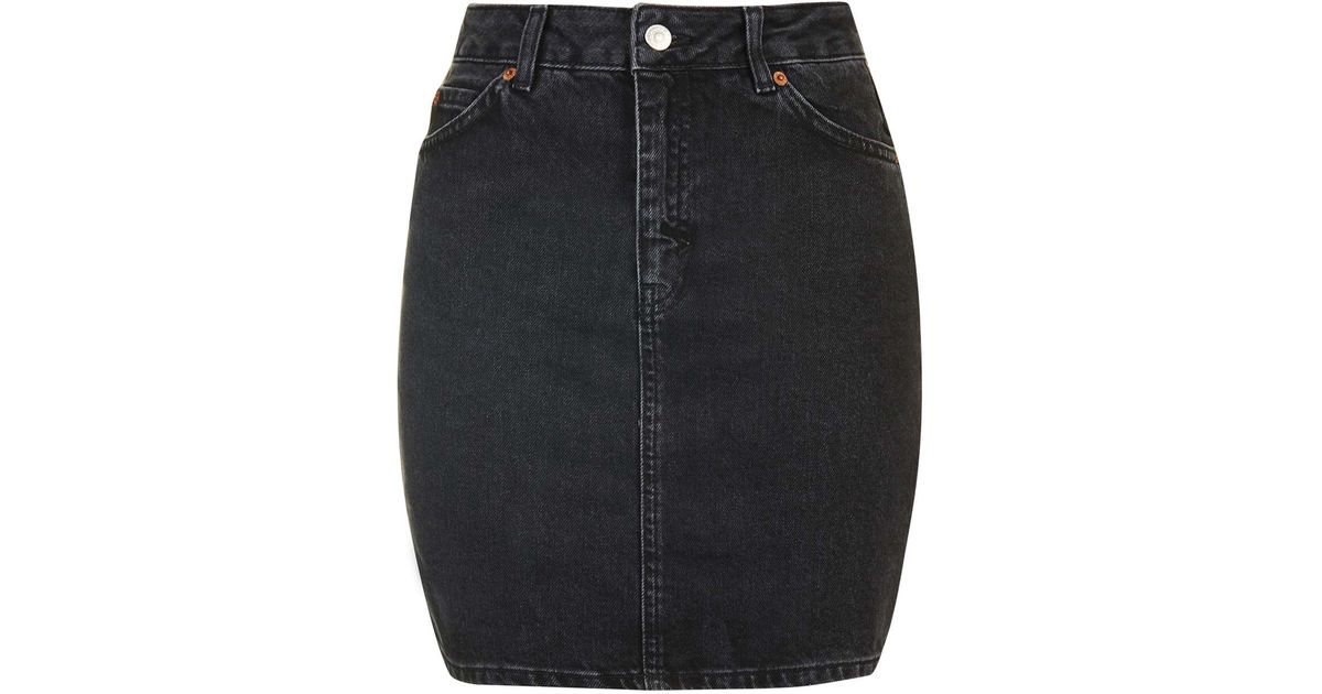 4ef573b713 TOPSHOP Moto High-waisted Mini Skirt in Black - Lyst