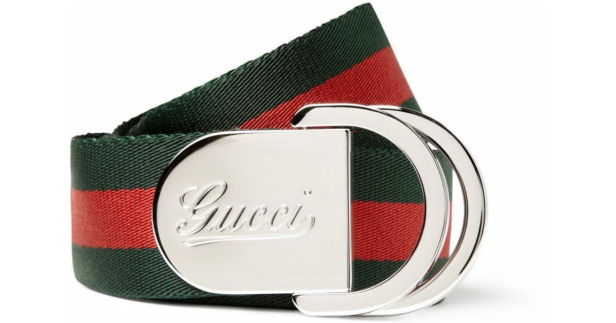 78b72780b Gucci 4Cm Striped Canvas Belt in Green for Men - Lyst