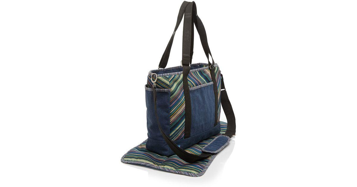 toms diaper bag stripe canvas in blue lyst. Black Bedroom Furniture Sets. Home Design Ideas