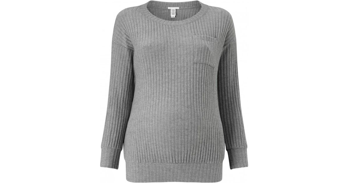 Eberjey cosy ribbed long sleeved t shirt in grey lyst for Ribbed long sleeve shirt