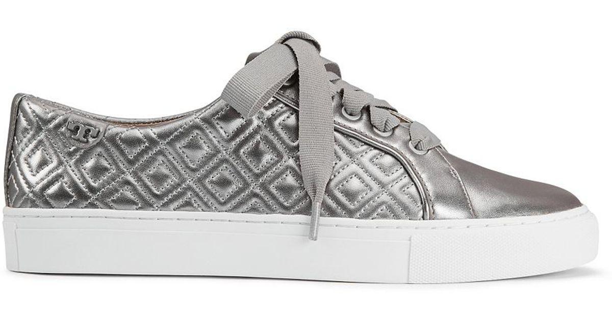 6c3412b88 Lyst - Tory Burch Marion Quilted Metallic Sneaker in Metallic