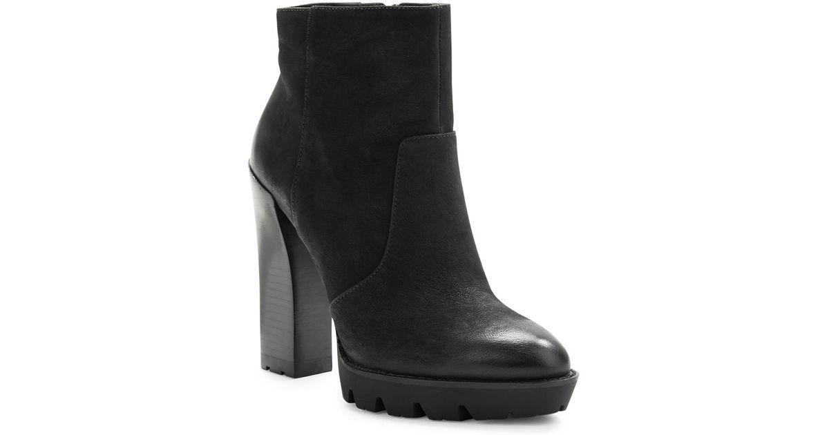 kenneth cole olive leather platform ankle boots in black