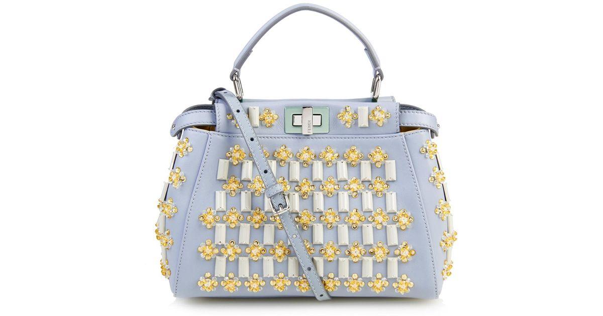 3db32d07d3ee ... coupon code for lyst fendi mini peekaboo floral embellishments cross  body bag in blue 7871c cbbc0