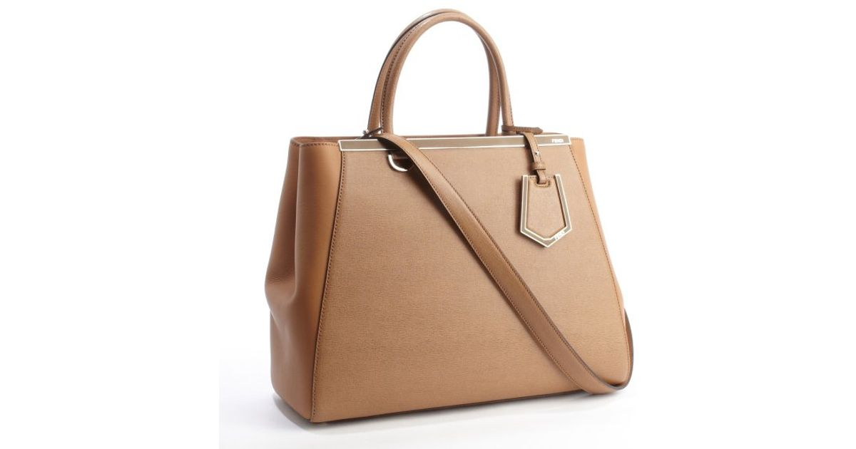 Fendi Light Brown Leather '2jours' Medium Convertible Tote in ...