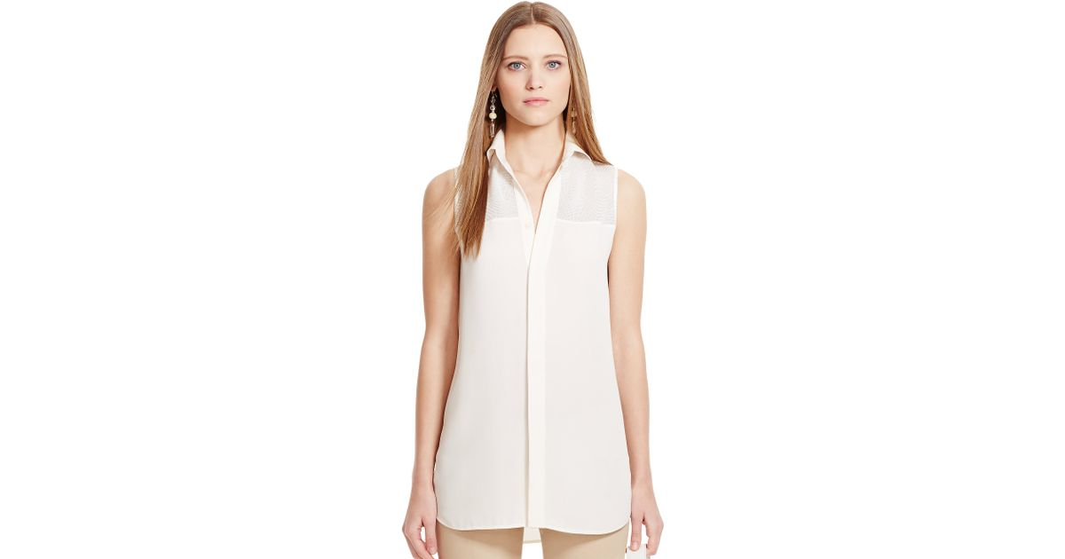 White mesh yoke dress.