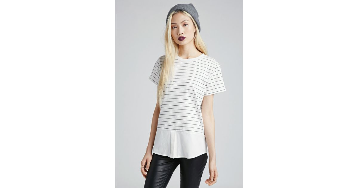 9c327a80f88 Forever 21 Striped Combo Top You've Been Added To The Waitlist in White -  Lyst