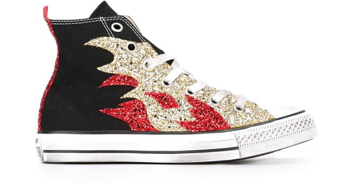 206eaa6917c7 Lyst - Converse Embellished Flame Sneakers in Black