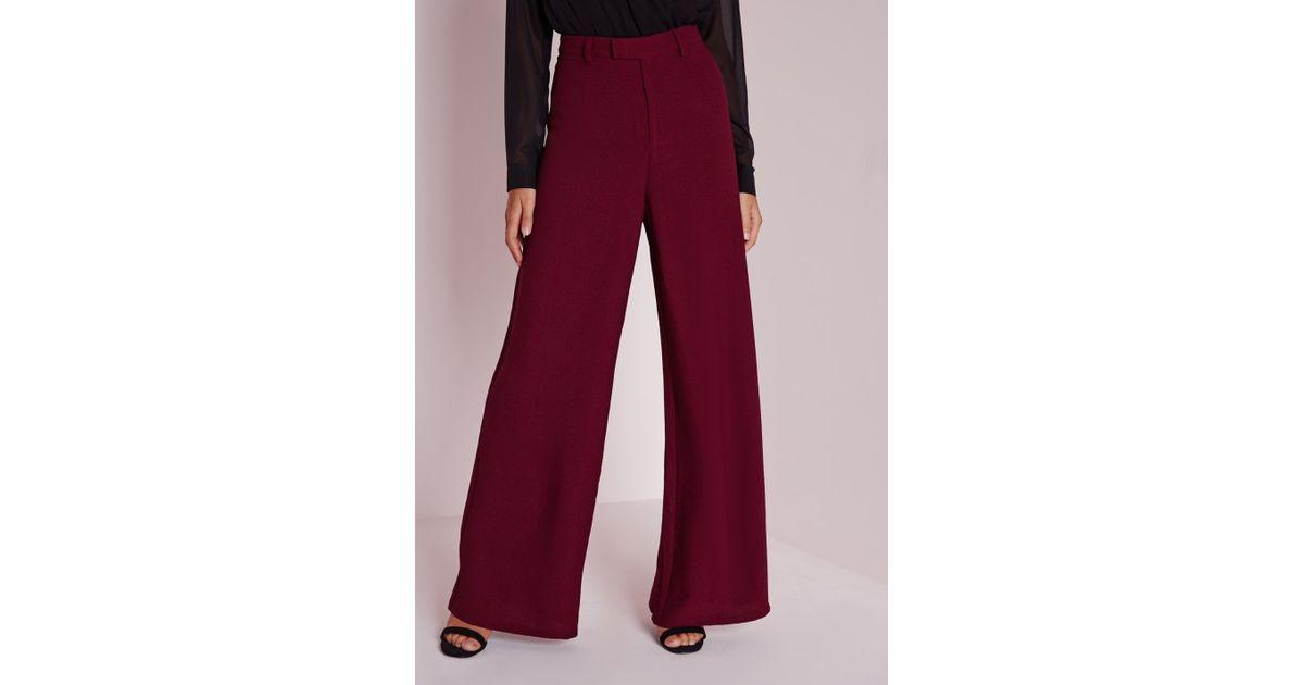 07e14e7a06c Lyst - Missguided Petite Premium Crepe Wide Leg Pants Burgundy in Purple