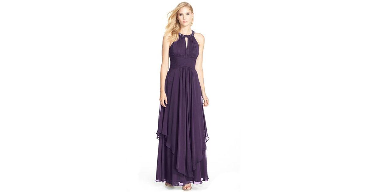 Lyst - Eliza J Embellished Tiered Chiffon Halter Gown in Purple