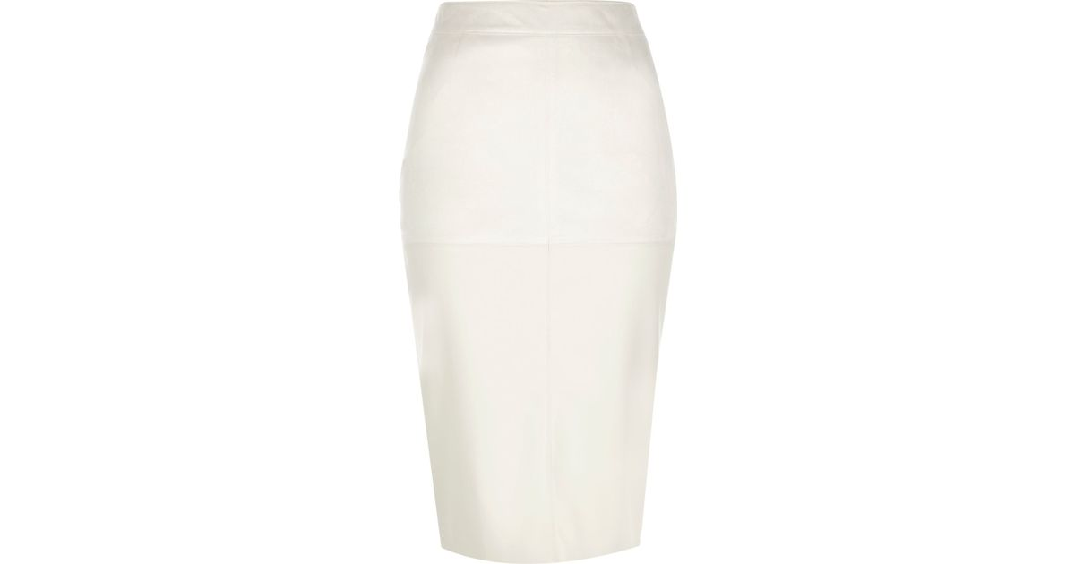 6cf4271a9 River Island Cream Faux Suede Pencil Skirt in Natural - Lyst