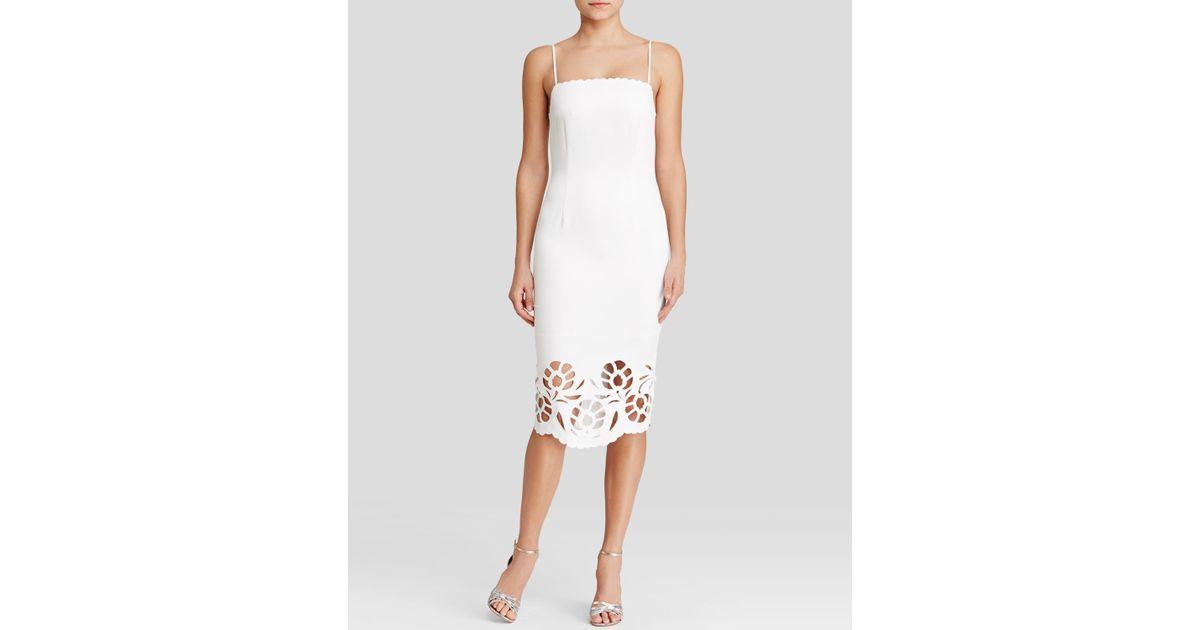 Lyst Cynthia Rowley Dress Sleeveless Laser Cut Hem Midi Sheath In White