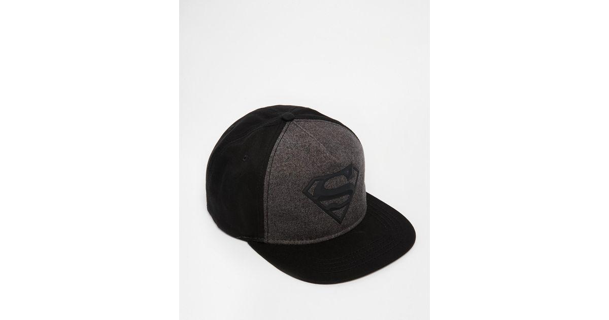 f6e6c6c75ed31 Lyst - ASOS Superman Snapback Cap In Black in Black for Men