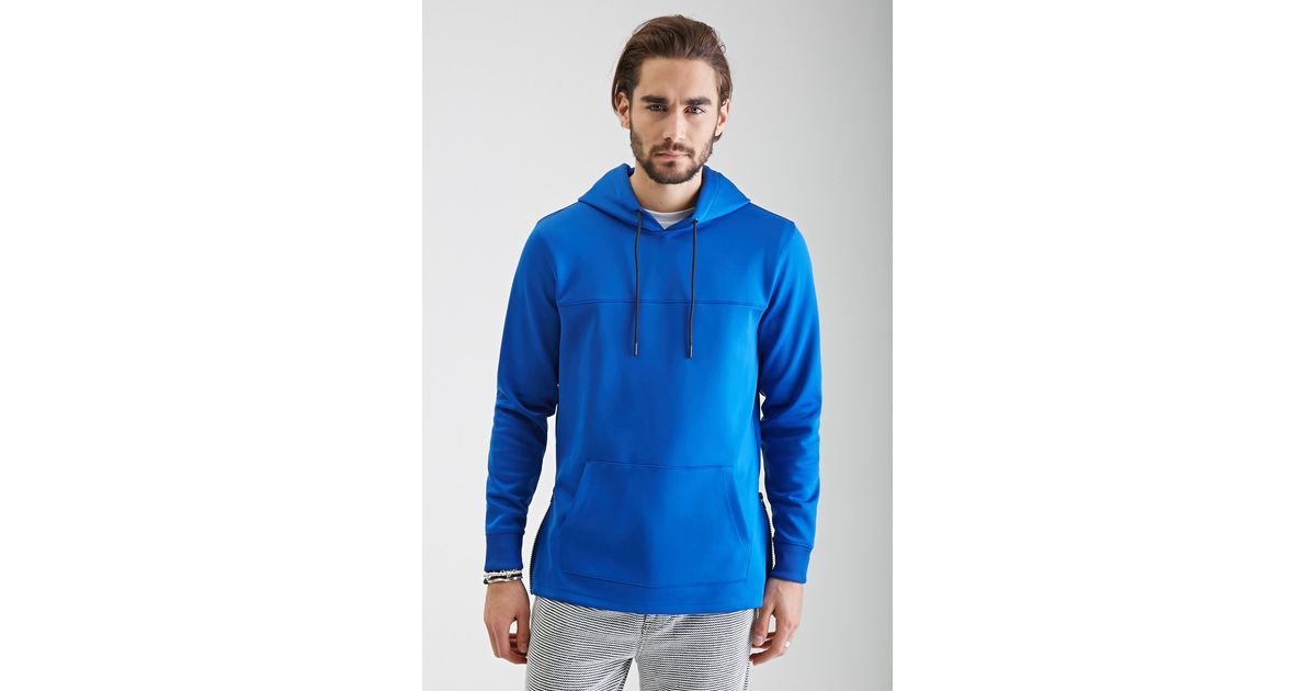Forever 21 Zippered Scuba Knit Hoodie in Blue for Men Lyst