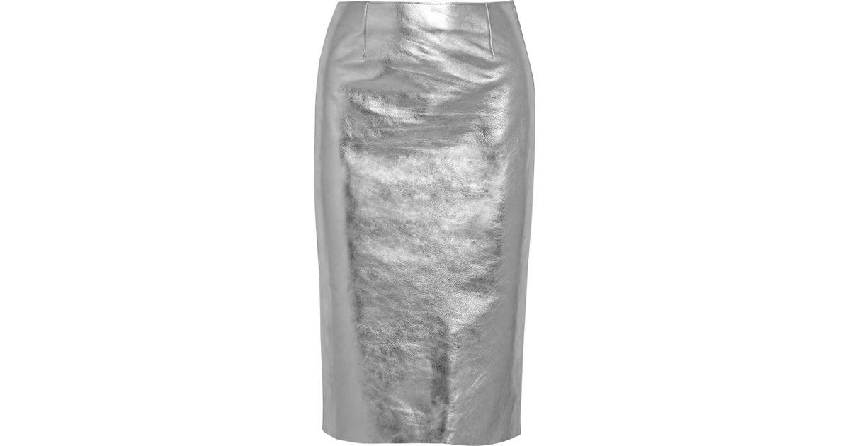 3a9cccb975 Maje Gallium Metallic Leather Pencil Skirt in Metallic - Lyst