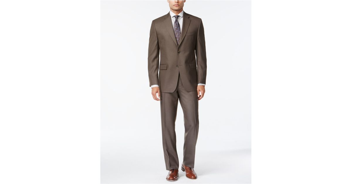 Izod Brown Sharkskin Classic-fit Suit in Brown for Men   Lyst