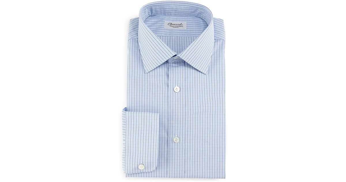 Charvet Plaid Check Dress Shirt In Blue For Men Navy Lyst