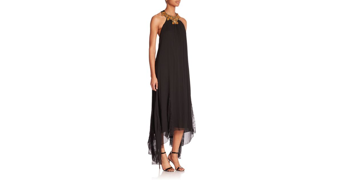 Lyst Alice Olivia Ravi Necklace Handkerchief Dress In Black