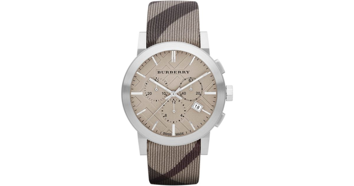 lyst burberry mens chronograph watch with smoke check