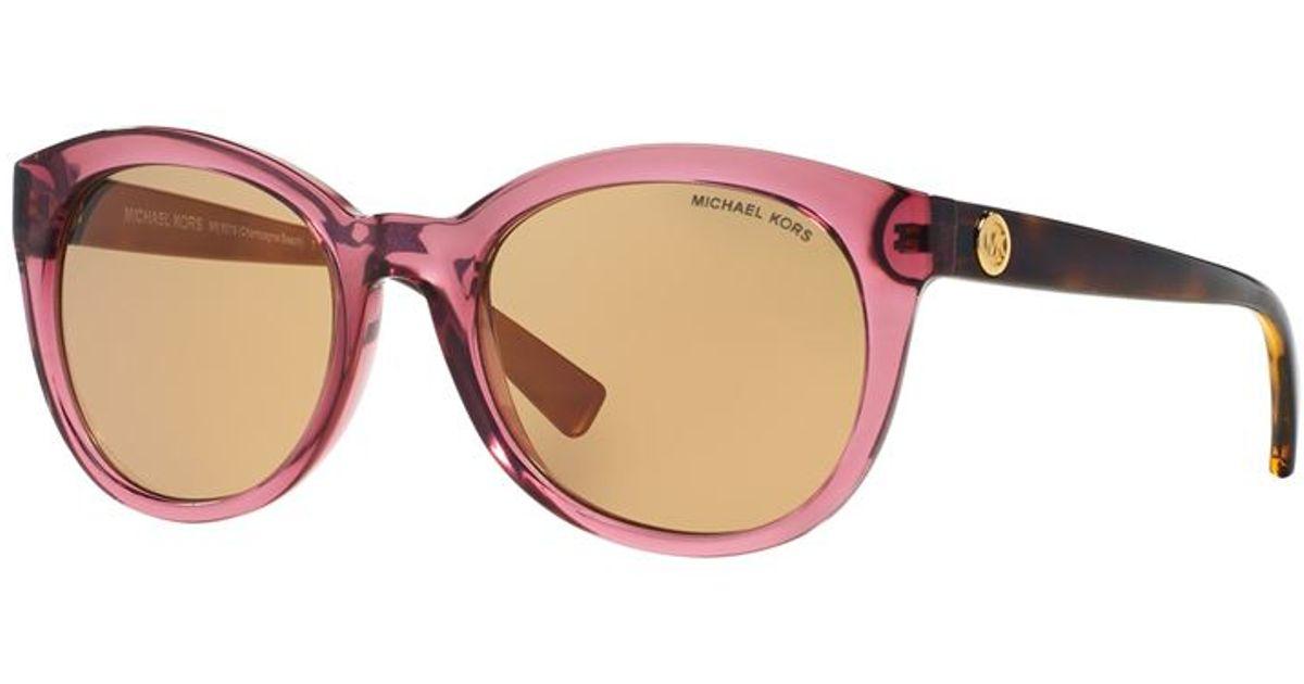 f9b98779f92c7 Michael Kors Champagne Beach Sunglasses in Pink - Lyst