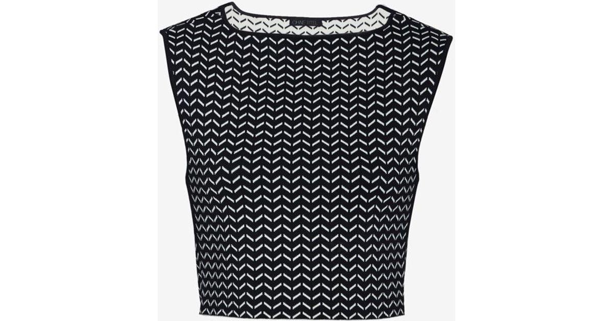 Lyst - Ohne Titel Chevron Pattern Knit Crop Top in Black