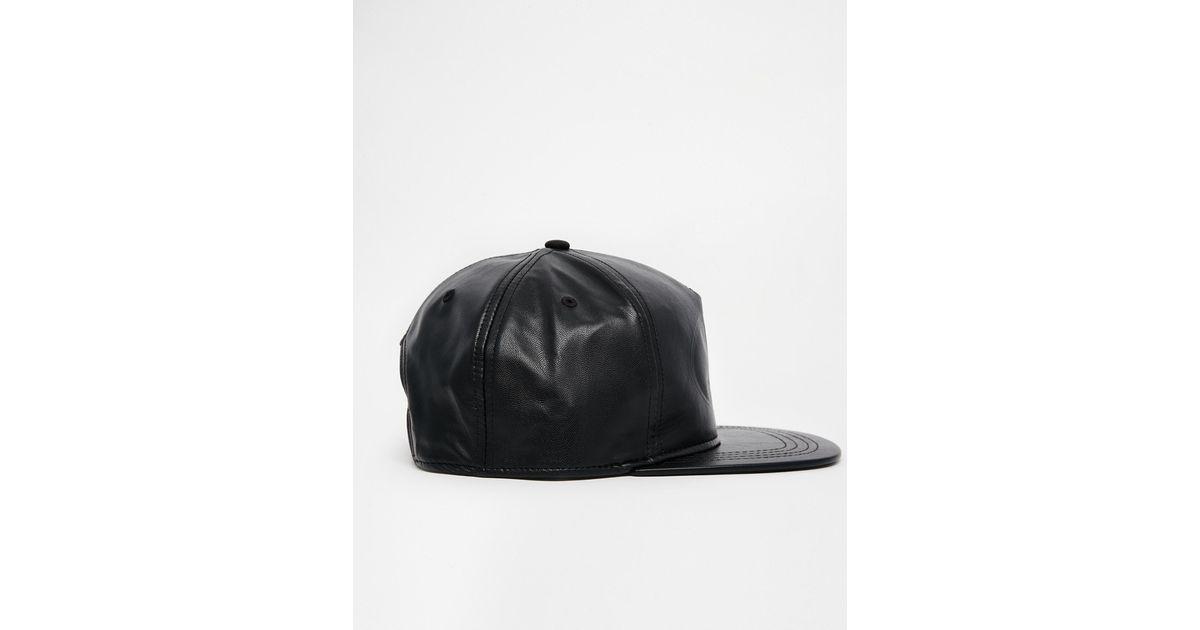 eef92fff5f367 Lyst - ASOS Batman Snapback Cap In Black Faux Leather in Black for Men
