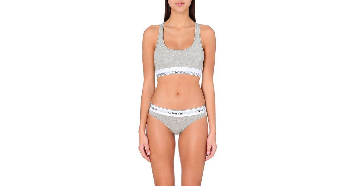 1df08c9553 Lyst - Calvin Klein Modern Cotton-jersey Bralette in White