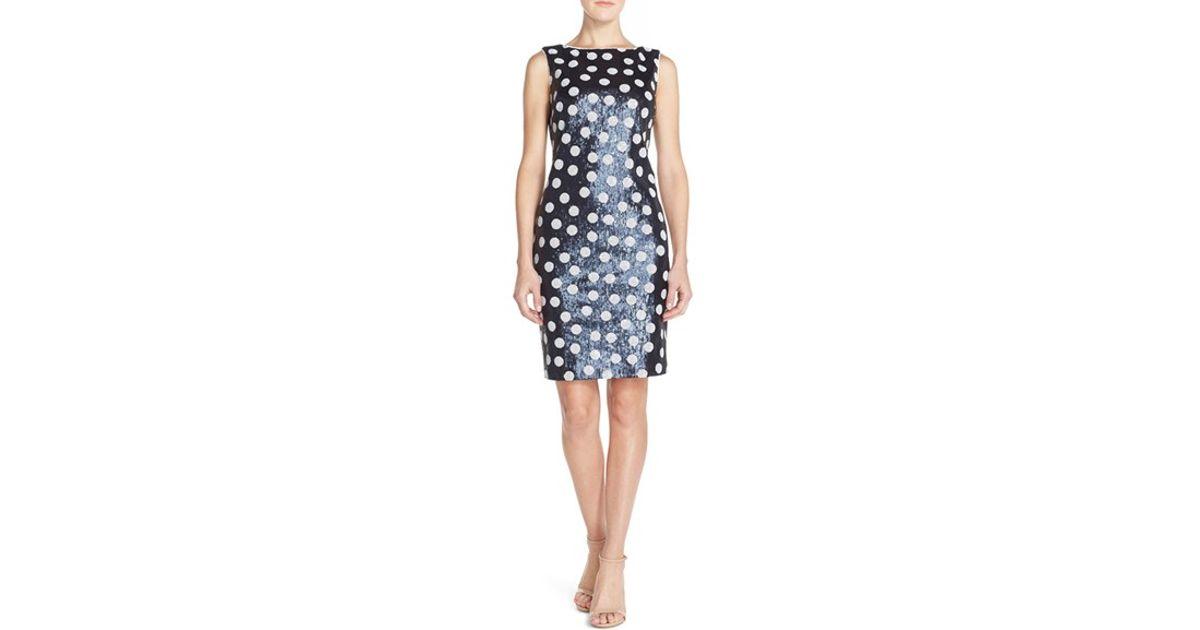 Navy Polka Dot Sheath Dress