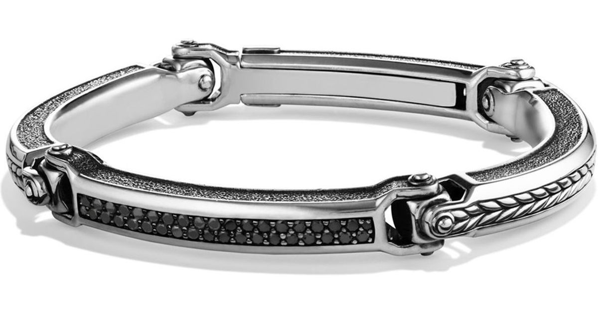 David Yurman Chevron Id Bracelet With Black Diamonds In Metallic For Men Lyst