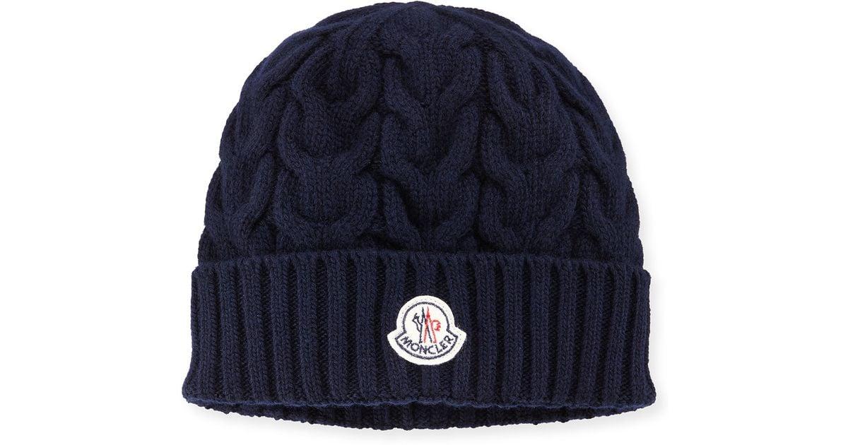 89913b06d Moncler - Blue Cashmere Cable-knit Beanie Hat for Men - Lyst
