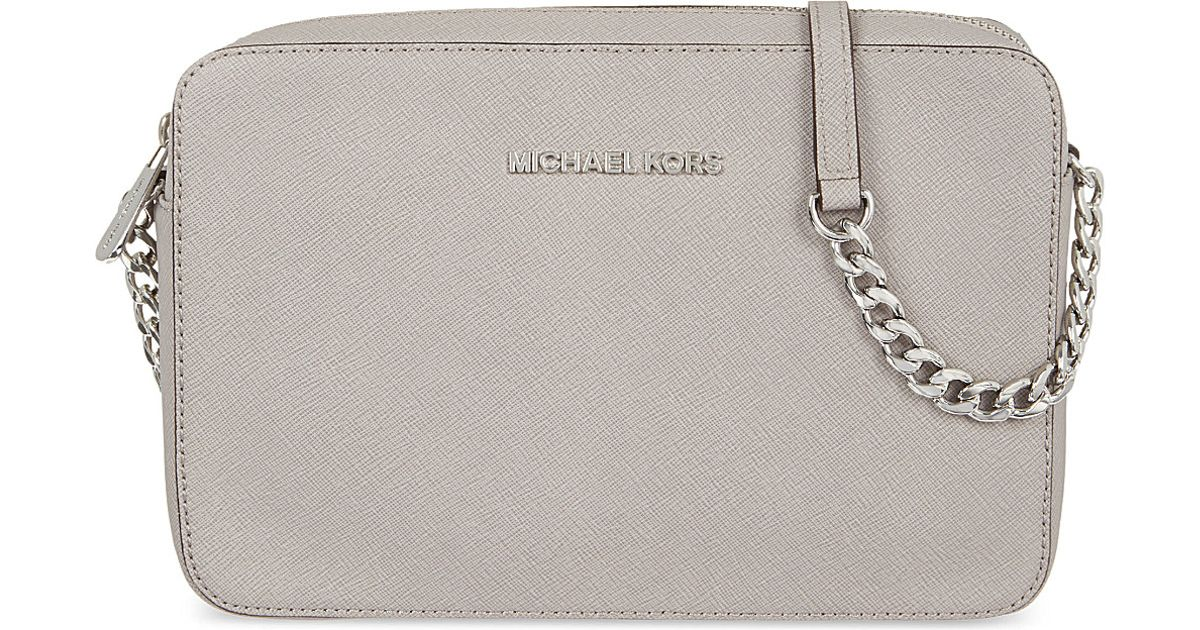 250c0fd102ab MICHAEL Michael Kors Jet Set Travel Large Crossbody Bag Pearl Grey in Gray  - Lyst