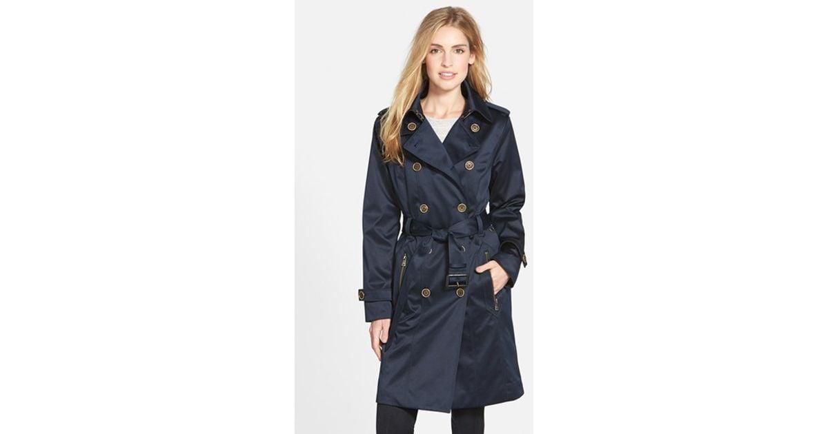 2ce8e0f40de93 Lyst - London Fog Long Double Breasted Trench Coat in Blue