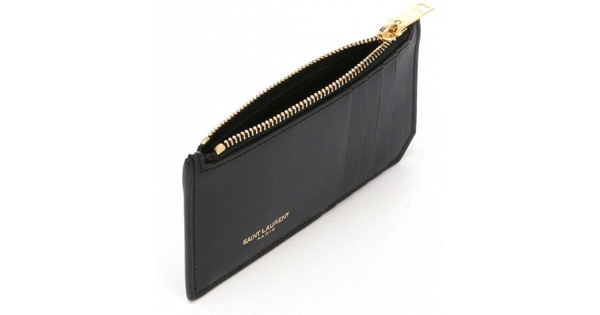 lyst saint laurent leather zip card holder in black - Zip Card Holder