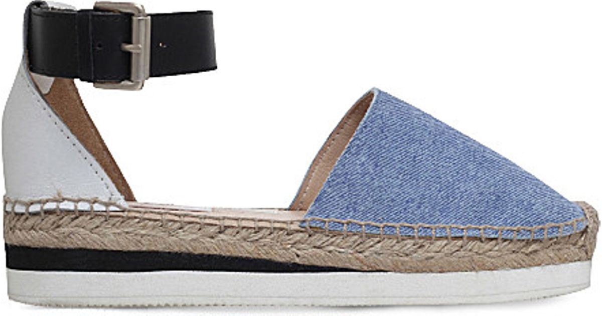 5c0a5e96f45 Lyst - See By Chloé Glyn Denim And Leather Espadrilles in White