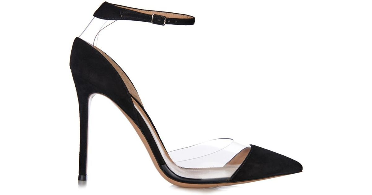 5b6f0b0550b7 Lyst - Gianvito Rossi Plexi Suede And Pvc Ankle-Strap Pumps in Black