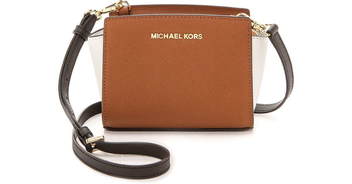 acd8806553f86 MICHAEL Michael Kors Colorblock Selma Mini Messenger Bag Luggagewhiteblack  in Brown - Lyst