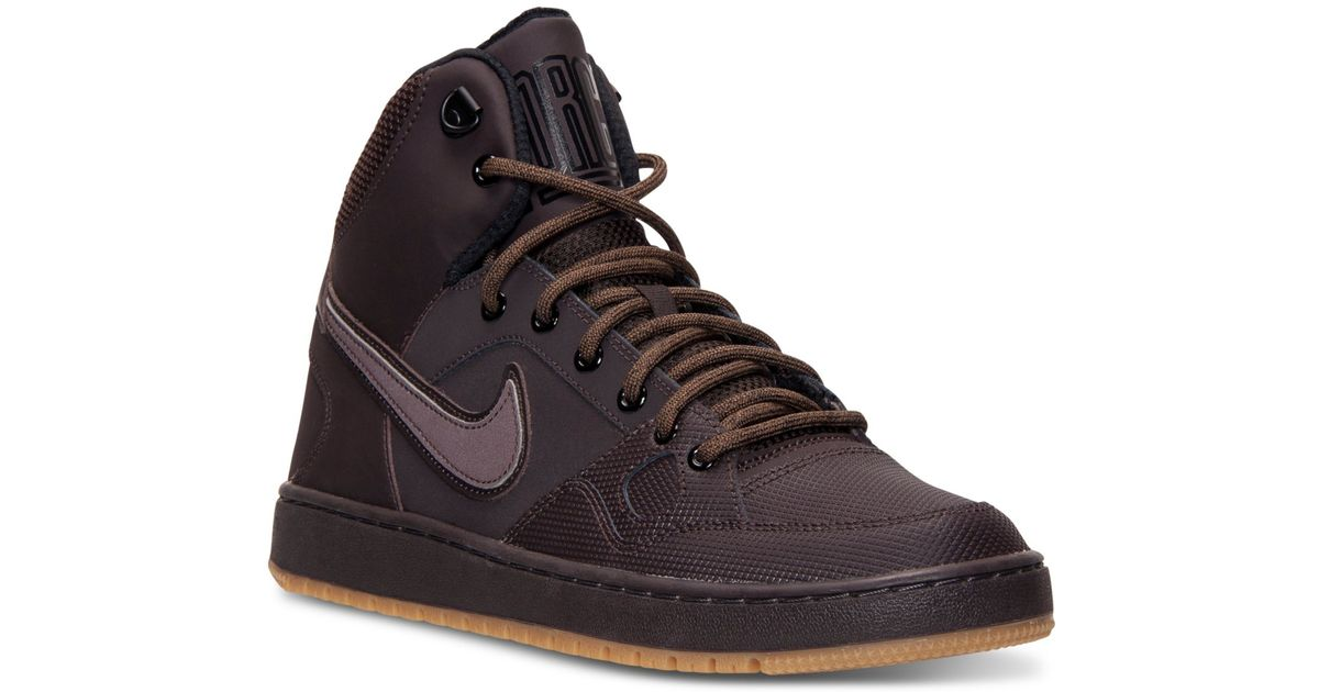 huge selection of 9332d 45ab9 Nike Men s Son Of Force Mid Winter Casual Sneakers From Finish Line in  Brown for Men - Lyst
