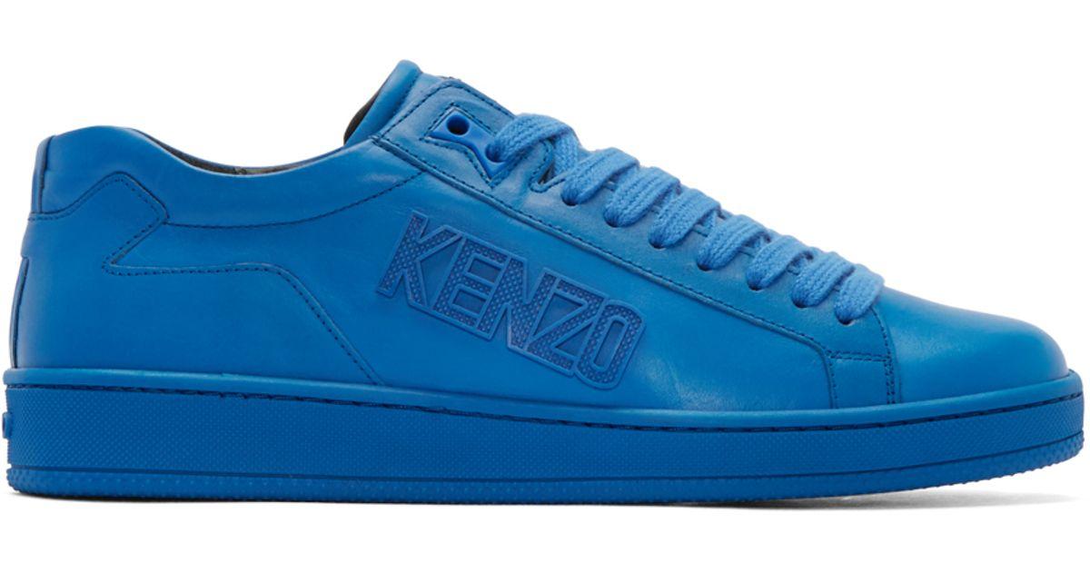 e0487be099 KENZO Blue Leather Tennix Sneakers in Blue for Men - Lyst