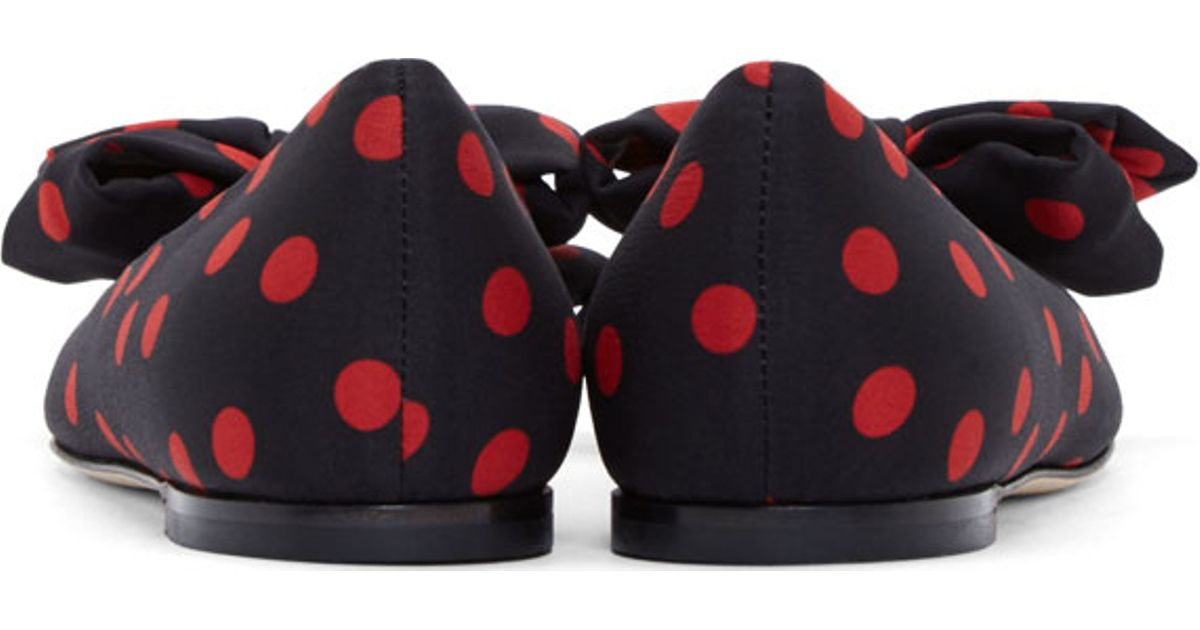 736595c1591 Lyst - Dolce   Gabbana Black And Red Polka Dot Bow Flats in Black